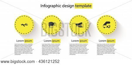 Set Uav Drone, Airship, Pilot Hat And Passenger Ladder. Business Infographic Template. Vector