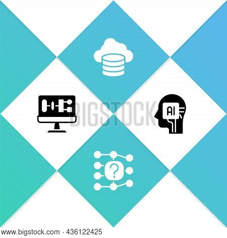 Set Algorithm, Neural Network, Cloud Database And Humanoid Robot Icon. Vector