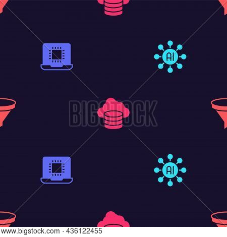 Set Neural Network, Processor Cpu, Cloud Database And Funnel Filter On Seamless Pattern. Vector