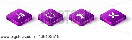 Set Isometric Water Gun, Laptop, Gamepad And Toy Plane Icon. Vector