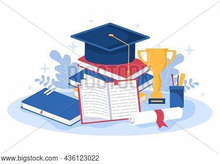 Happy Graduation Day Of Students Celebrating Background Vector Illustration Wearing Academic Dress,