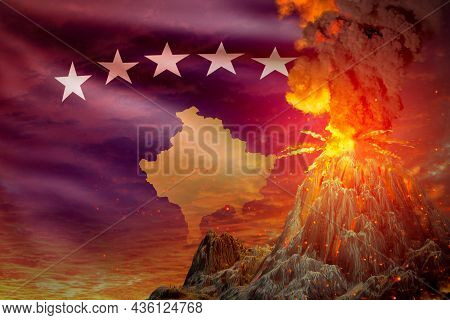 High Volcano Blast Eruption At Night With Explosion On Kosovo Flag Background, Problems Of Eruption