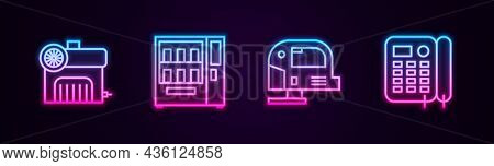 Set Line Air Compressor, Vending Machine, Electric Jigsaw And Telephone. Glowing Neon Icon. Vector