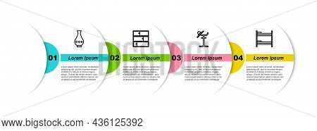 Set Line Vase, Shelf, Coat Stand And Bunk Bed. Business Infographic Template. Vector