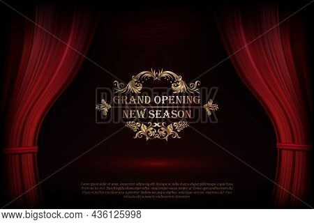 Vector Premium Red Curtains In Theater Or Opera. Dark Red Curtain Scene Gracefully With Simple Text.