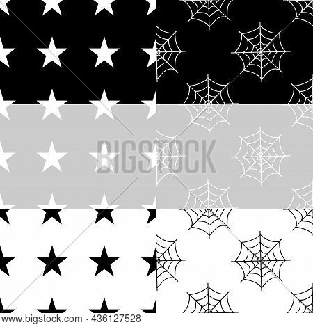 Flat Vector Illustration. Set Of Halloween Seamless Pattern With Cobwebs And Stars On White, Grey, B