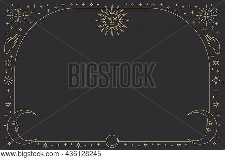 Monoline celestial icons frame background on black