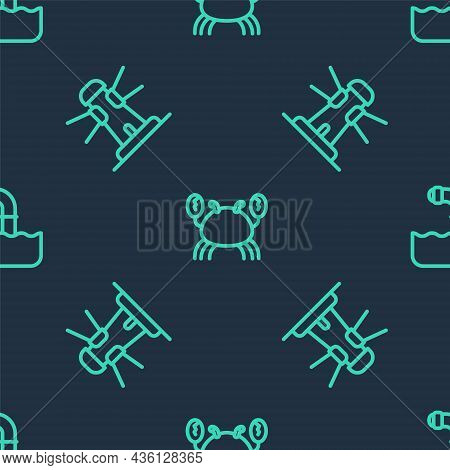 Set Line Crab, Lighthouse And Periscope On Seamless Pattern. Vector