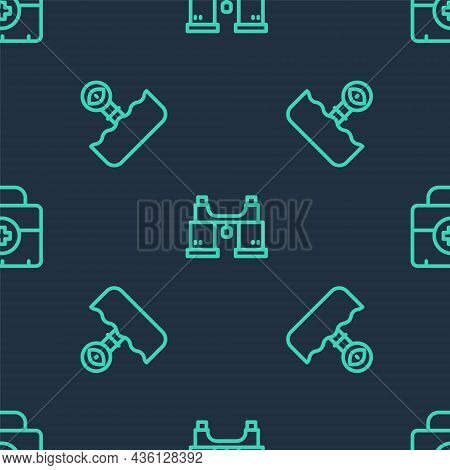Set Line Binoculars, Periscope And First Aid Kit On Seamless Pattern. Vector