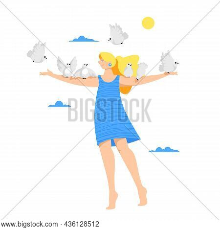 The Girl With The Birds. The Dove Of Peace. Flock Of Birds. Vector Image Of A Woman With Birds