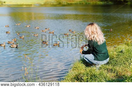 Side View Of Young Woman In Casual Clothes Sitting On Shore Near Water And Feeding Ducks In Nature.