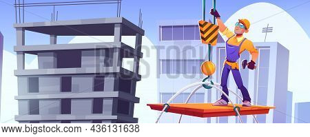 Builder On Construction Site, Worker Character In Hardhat And Overalls Stand On Platform Lifting Wit
