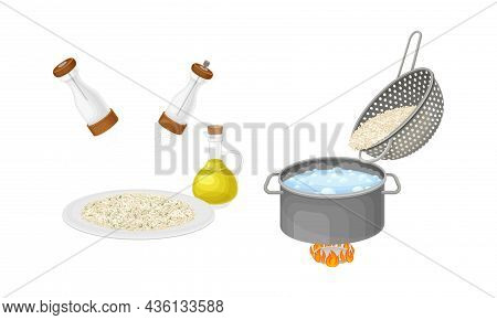 Rice Cooking Process Set. Boiling And Serving Porridge In Bowl Vector Illustration On White Backgrou