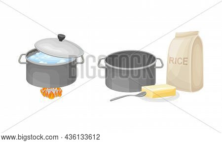 Rice Cooking Process Set. Boiling Porridge And Cooking Ingredients Vector Illustration