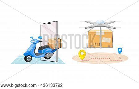 Online Delivery Service Set. Scooter Delivering Parcel Box. Order Tracking Technology And Logistics