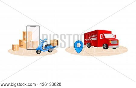 Online Delivery Service Set. Red Truck And Scooter Delivering Parcel Boxes. Order Tracking Technolog