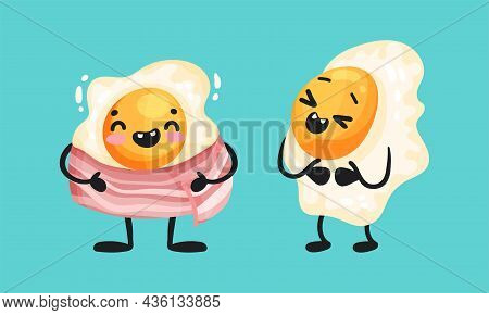 Ham And Fried Egg Funny Breakfast Characters Vector Illustration