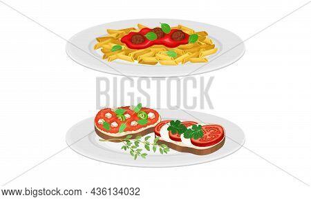 Italian Cuisine Dishes Set. Bruschetta And Pasta With Vegetable Sauce Vector Illustration