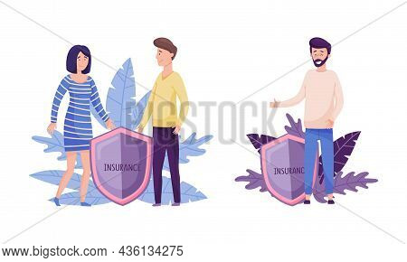 Human Life And Health Insurance, Family Protection Concept. Human Hands Over People Protecting Again