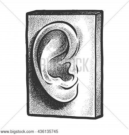 Gypsum Plaster Cast Human Ear Sketch Engraving Vector Illustration. T-shirt Apparel Print Design. Sc