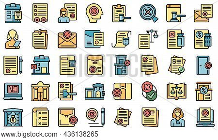 Disclaimer Icons Set Outline Vector. Defence Waiver. House Justice
