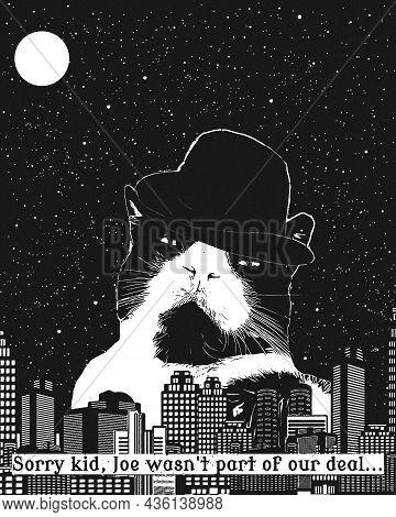 Gangster Cat In A Hat, Against The Background Of Retro Skyscrapers, With The Signature Below From Th
