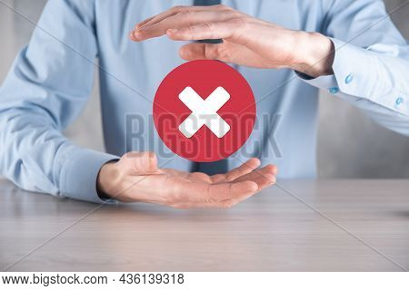 Hand Holds Icon,cancellation Symbol,cancel Icon.cross Mark Flat Red Icon.round X Mark.cancel Button.