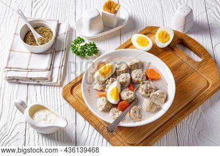 Zurek Polish Fermented Rye Cereal Soup With Traditional Polish Kielbasa Or Sausage With Marjoram, Ha