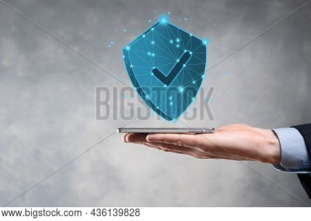 Businessman Hold Low Poly Polygon Shield With A Tick Icon.secure Access System Concept.business Fina