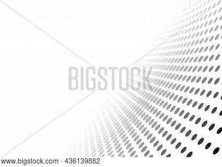 White Background With Dotted Pattern In Perspective View - Black Abstract Illustration With Fade Off