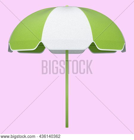 Green Striped Beach Umbrella For Lounge Zone On Seashore Isolated On Pink.