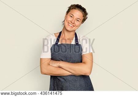 Business owner woman crossing arms