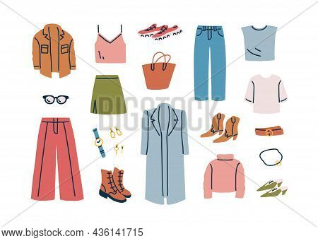 Fall Capsule Wardrobe Collection. Fashion Casual Women Clothes And Accessories Set. Modern Apparel,
