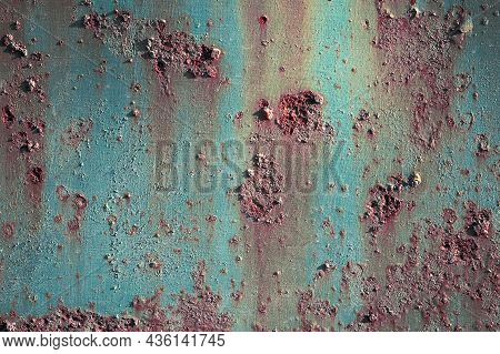 Corroded Metal Background. Rusted Blue Painted Metal Wall. Rusty Metal Background With Streaks Of Ru