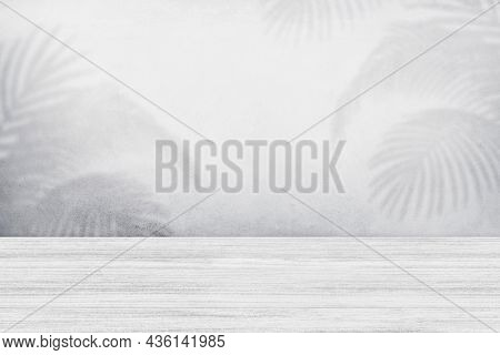 Product backdrop, empty white wooden floor, parquet texture with tropical leaves shadow