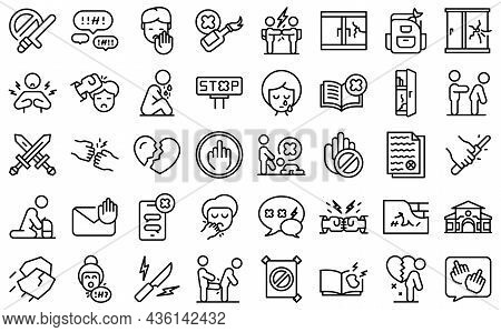 Violence At School Icons Set Outline Vector. Victim Abuse. Family Depresion