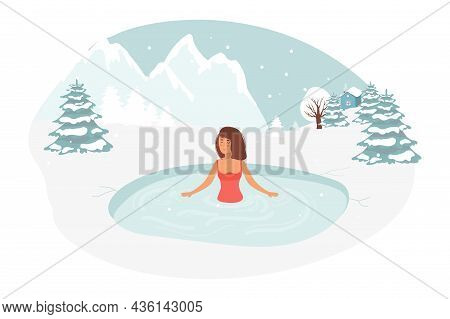 Female Character Swimming In Ice. Healthy Lifestyle Challenge, Sport Activity Concept. Hole In Winte