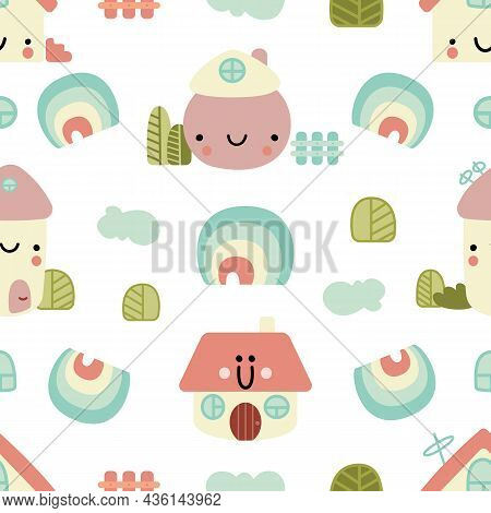 Cute Houses Vector Seamless Pattern. Buildings With Funny Faces, Fence, Windows, Trees, Clouds, Rain