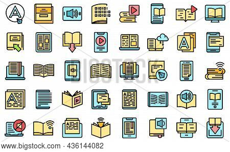 Digital Reading Icons Set Outline Vector. Library Book. Audiobook Publishing