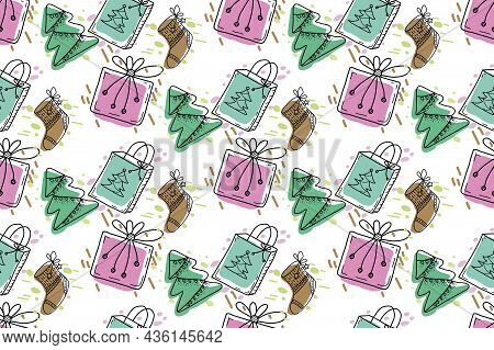 Christmas Vector Seamless Pattern In Doodle Style. Cute Characters, Christmas Balls, Gift Boxes, Chr
