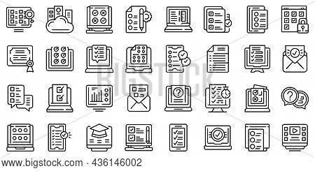Online Exam Icons Set Outline Vector. Study Class. Exam Test