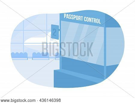 Passport Control In Airport 2d Vector Isolated Illustration. Stand For Id Inspection. Airplane Termi