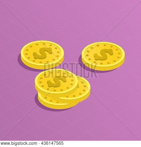 A Heap Of Gold Dollars Coins. Several Stacks And Piles Of Money. Finance And Cash Concept. Big Money