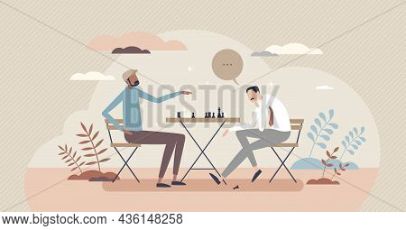 Playing Chess And Strategy Thinking For Board Game Win Tiny Person Concept. Intelligence And Brain T