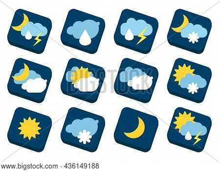Signs, Symbols For Weather Forecast On Tiles.