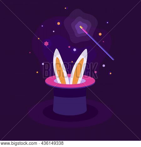 Bunny Ears Emerge From A Magic Top Hat Magic Wand. Tricks With Bunny Ears In A Hat. The Magic Cylind