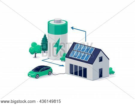 Home Virtual Battery Energy Storage With House Photovoltaic Solar Panels On Roof And Rechargeable Li