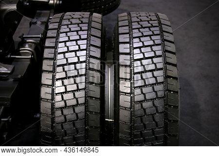 Dual Wheel Of Truck In Dark Tone