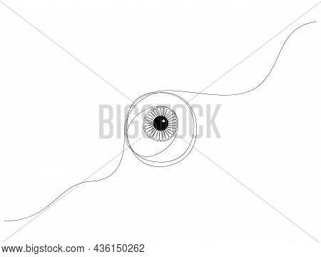 One Line Eyeball Drawing. Single Line Eye With Detailed Iris Vector Illustration.