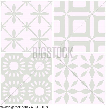 Tile Portugal Flower Seamless Pattern Set. Blue Color Geometric Background. Traditional Azulejo Repe